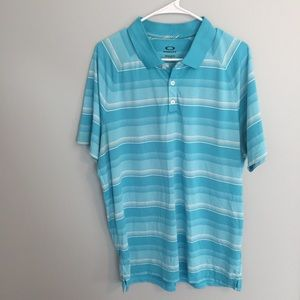 Oakley Blue Striped Regular Fit Golf Polo Shirt